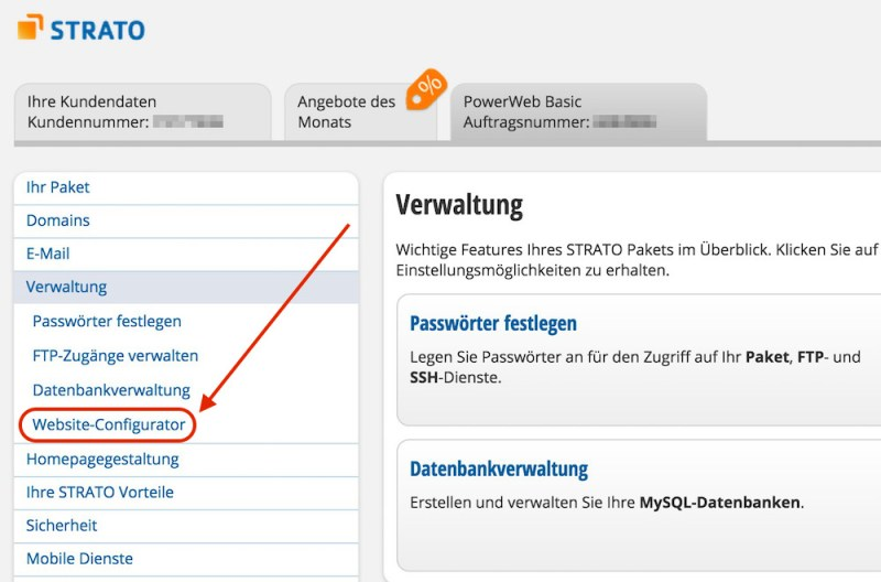 Den Website Configurator selektieren (Bild: Screenshot Strato.de).