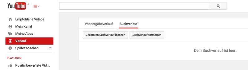 YouTube Suchverlauf löschen (Bild: Screenshot YouTube).