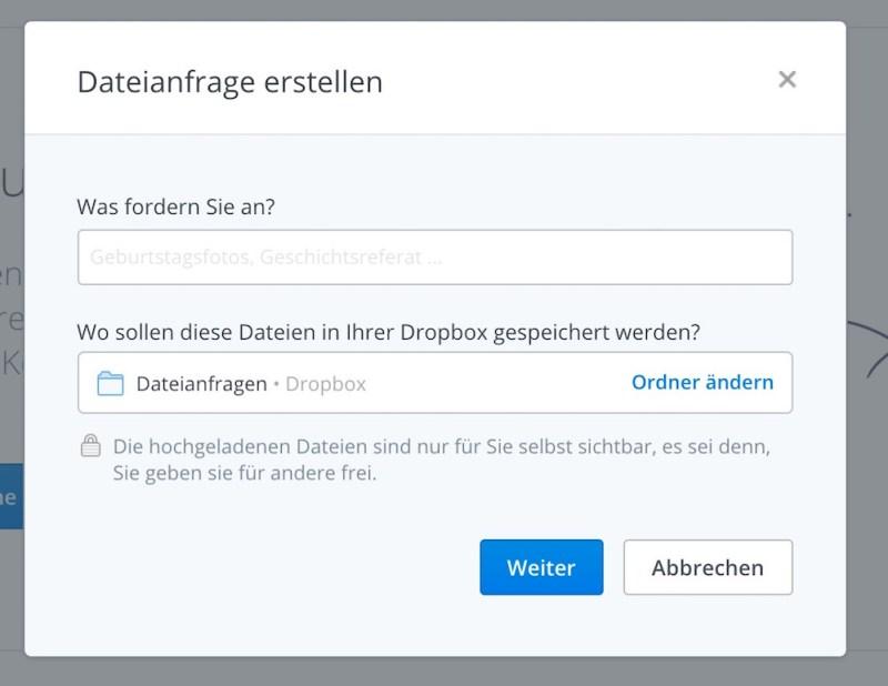 Für die Dateianfrage wird ein Namen und Speicherort in Dropbox vergeben (Bild: Screenshot Dropbox).
