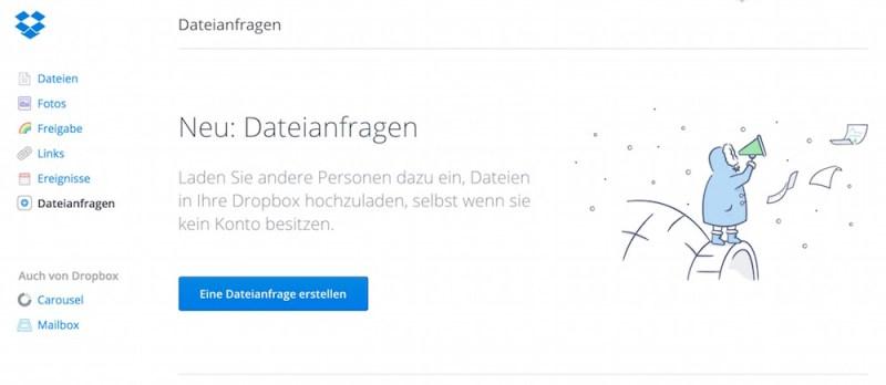 Dateien von anderen Nutzern anfragen mit Dropbox (Bild: Screenshot Dropbox).