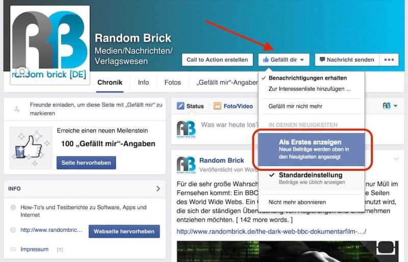 """Facebook """"Als Erstes anzeigen"""" für Profile (Bild: Screenshot Facebook)."""