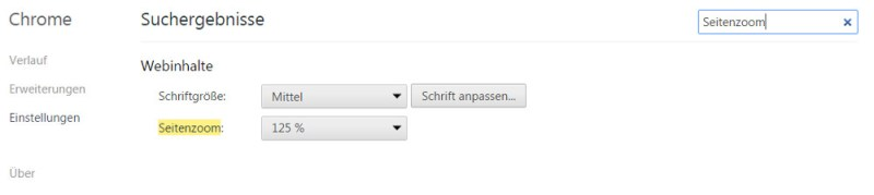 Festgelegter Seitenzoom für alle Webseiten unter Google Chrome (Bild: Screenshot Google Chrome).