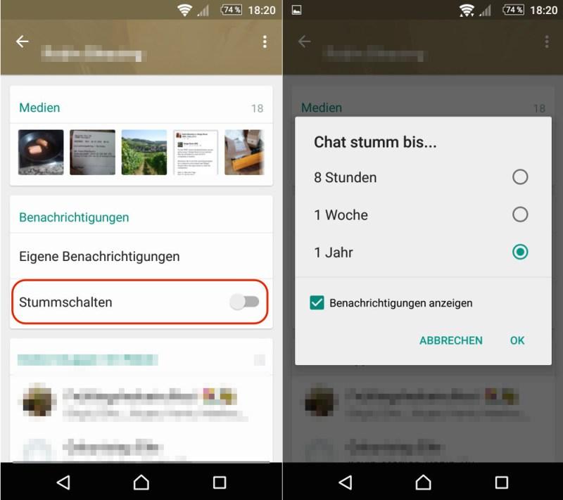 WhatsApp Kontakte und Gruppen stummschalten (Bild: Screenshot WhatsApp).