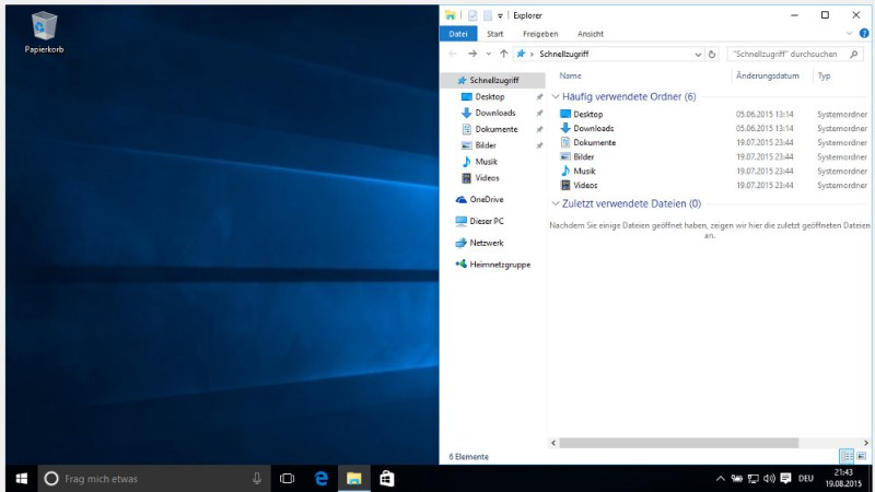 Windows 10 Tastenkombination zum anpassen der Fenster (Bild: Screenshot Windows 10).