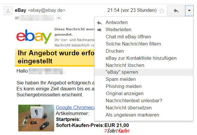 Absender können jetzt direkt Google Mail heraus gesperrt werden (Bild: Screenshot Gmail).