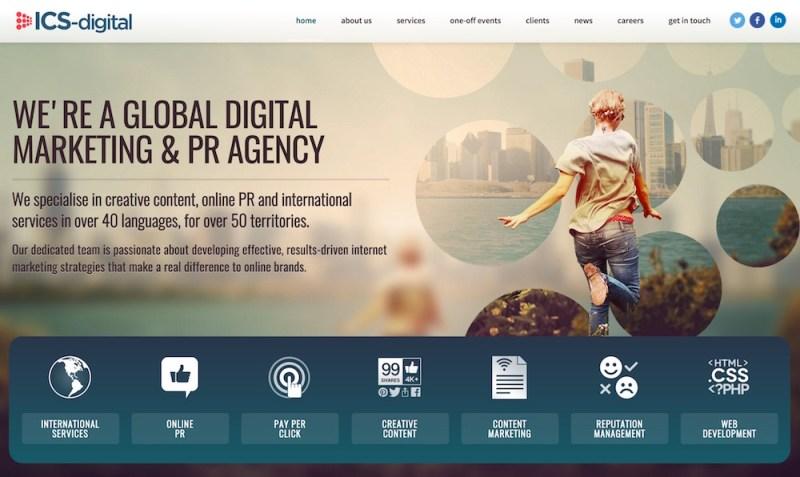 ICS-Digital bewirbt sich als internationale Marketing Agentur (Bild: Screenshot ICS-Digital).