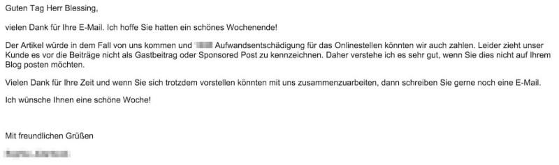 Dell wünscht laut ICS-Digital (OMRUK) auf keinen Fall eine Kennzeichnung des Beitrags als Sponsored Post (Bild: Screenshot Gmail).