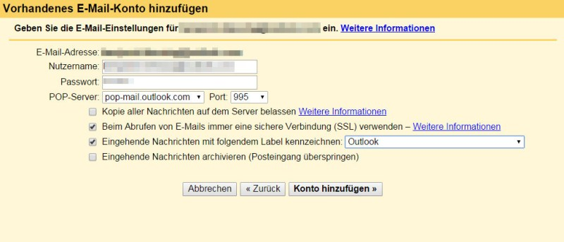 Gmail erkennt den E-Mail Anbieter und setzt einige Standardeinstellungen (Bild: Screenshot Gmail).