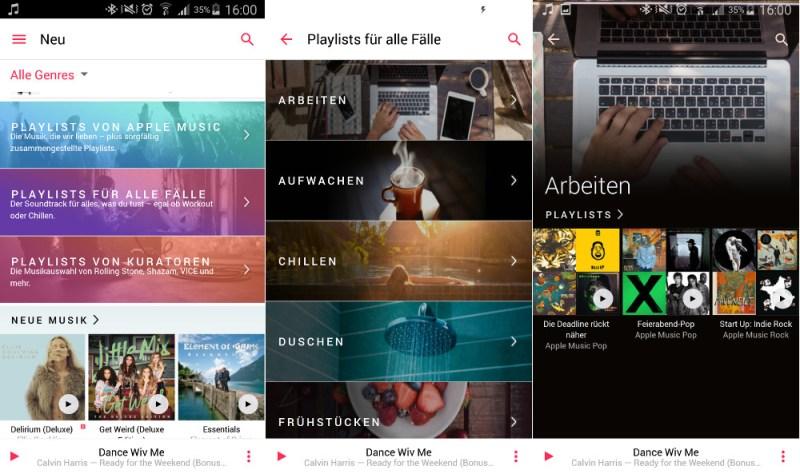 Apple Music beinhaltet eine Vielzahl an kuratierten Playlisten (Bild: Screenshot Apple Music).