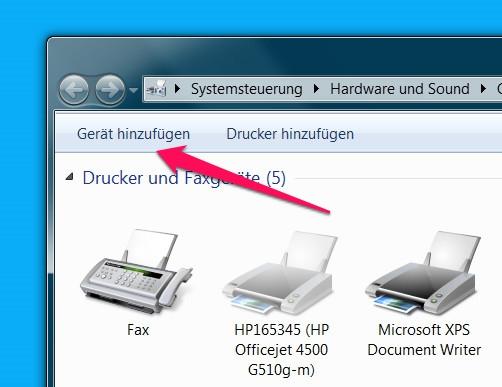 Bluetooth-Lautsprecher unter Windows 7 lassen sich über Geräte und Drucker einrichten (Bild: Screenshot Windows 7).
