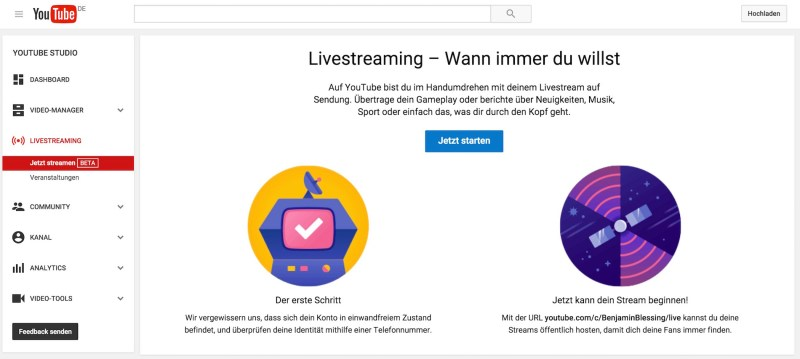 YouTube Live-Streaming in Deutschland einrichten