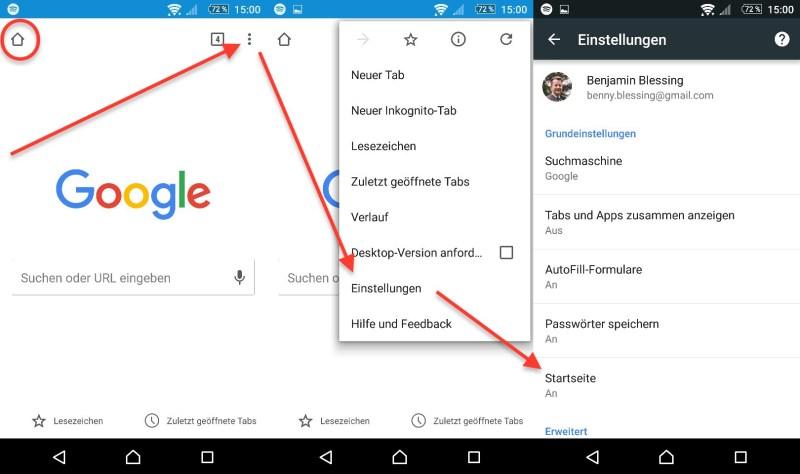Google Chrome App - Startseite löschen