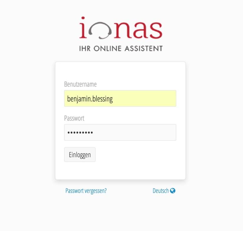 ionas-Server Home Benutzer-Konto