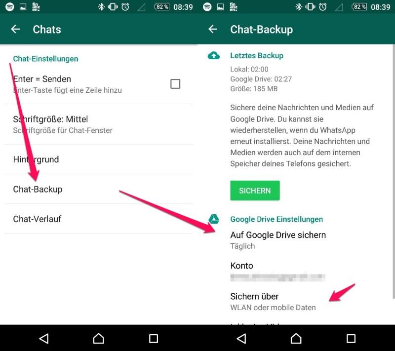 WhatsApp - Chats automatisch sichern