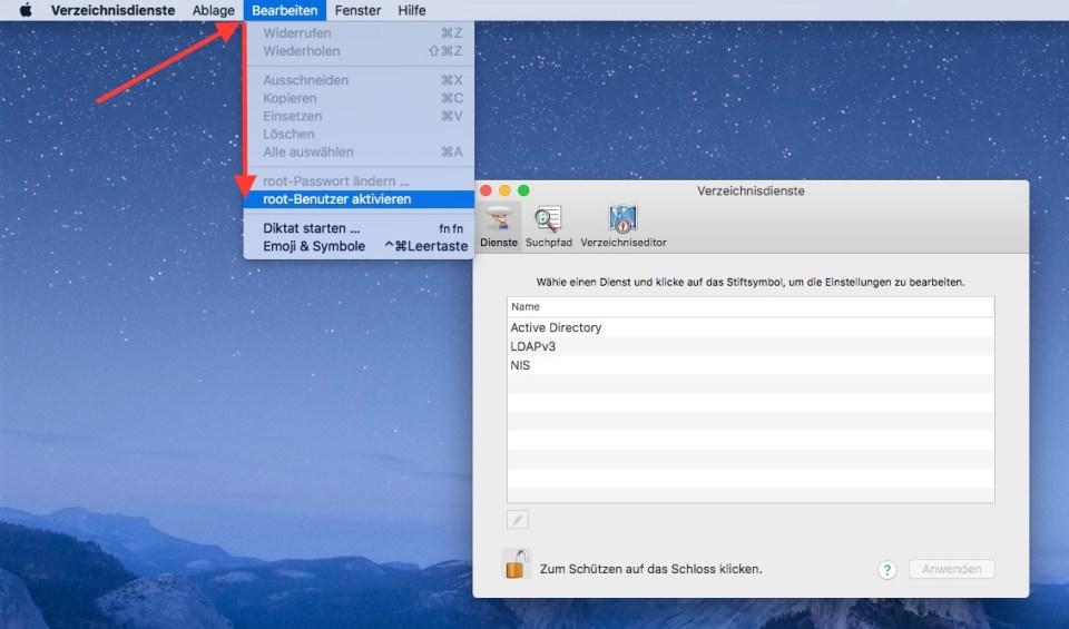 macOS High Sierra root-Benutzer aktivieren