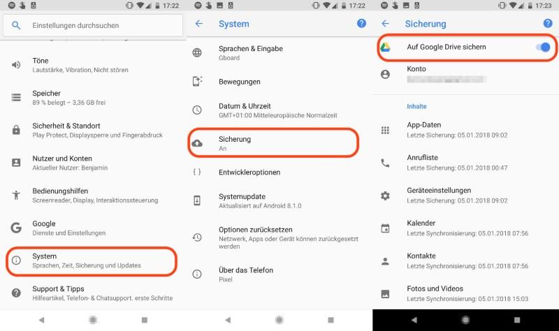 Android sicher löschen Backup einrichten