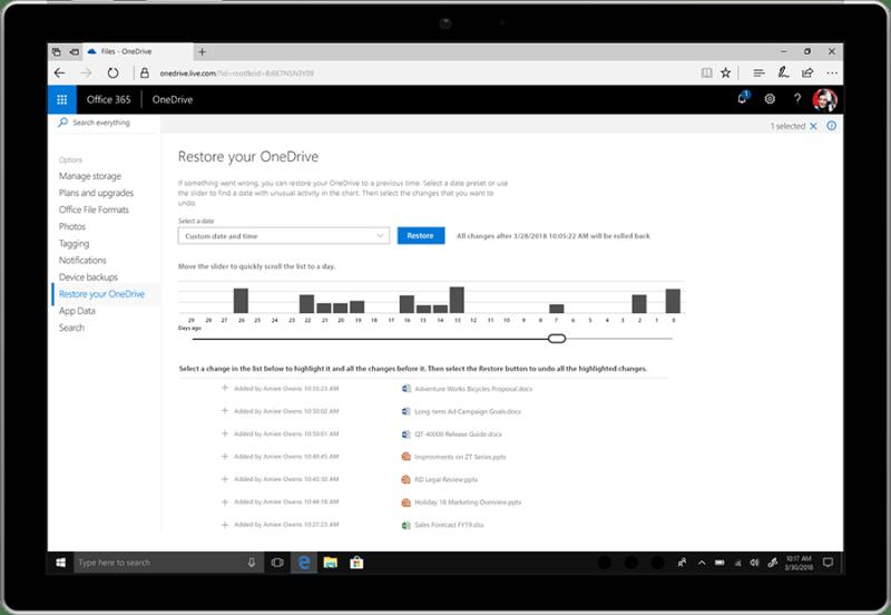 OneDrive mit Funktion zum Wiederherstellen von Dateien