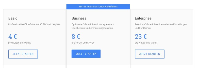 G Suite-Version von Google
