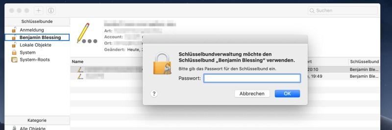 Mac Passwort für Schlüsselbund