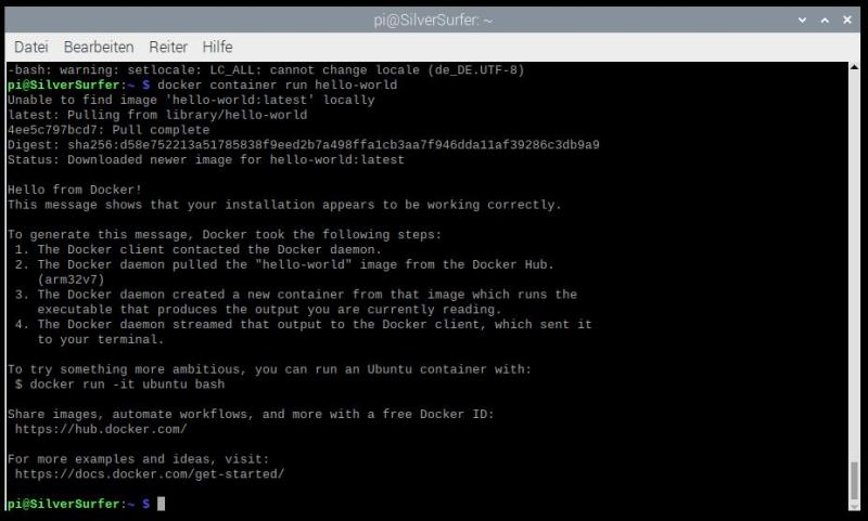 Docker Test-Image ausführen