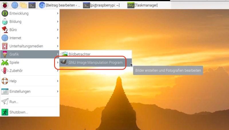 GIMP auf Raspberry Pi starten