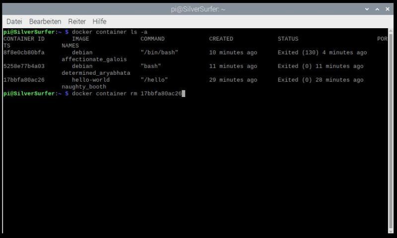 Raspberry Pi Container Image löschen