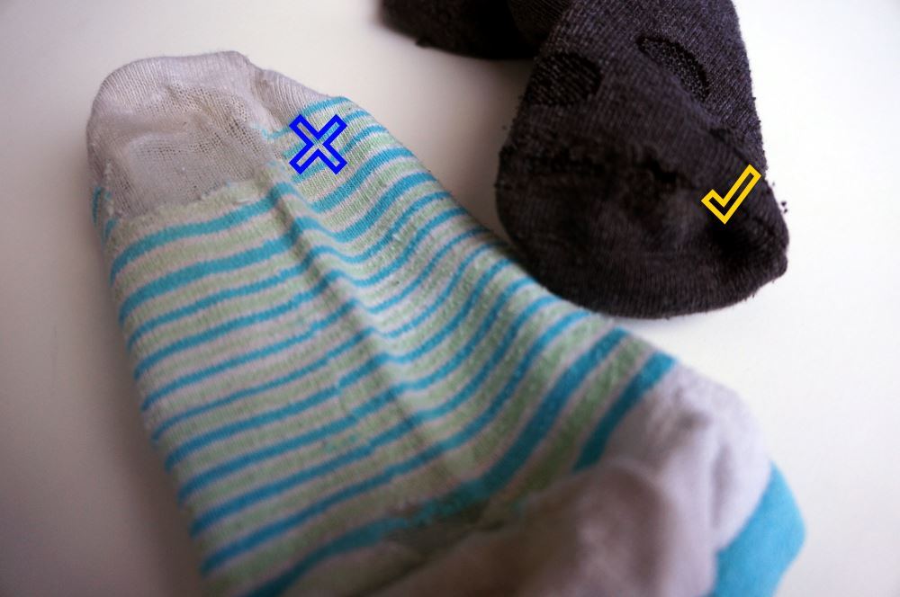 Socks - good and bad condition example