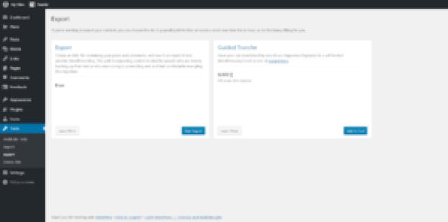 WordPress Dashboard Export Page