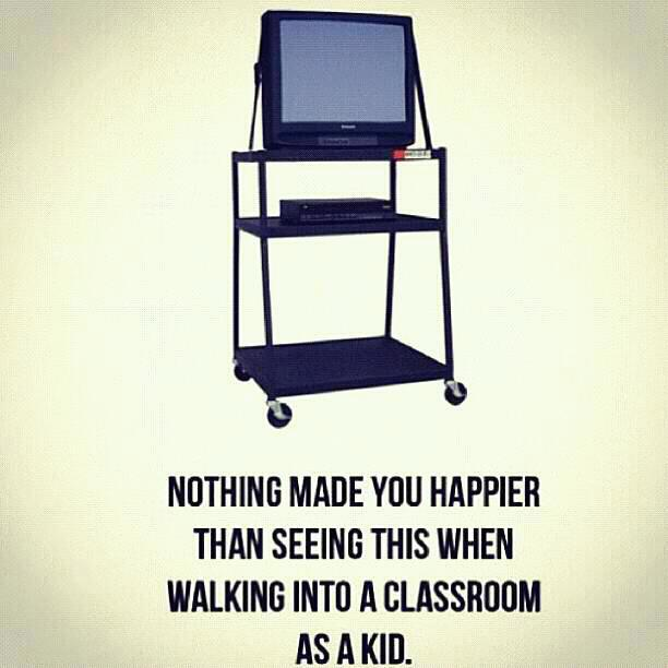 TV VCR on Wheels in the Classroom as a kid