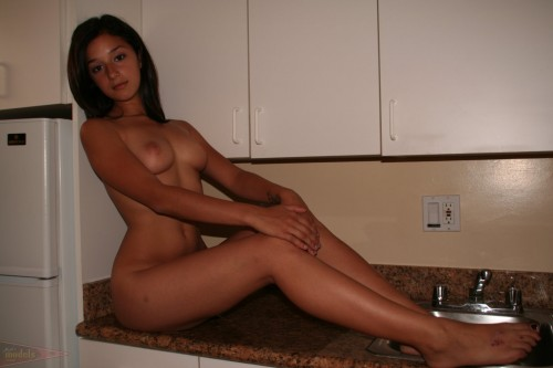 counter top nude woman