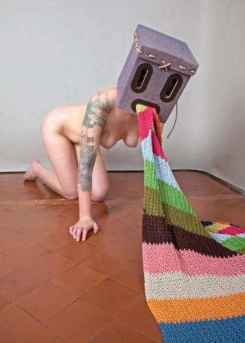 nude robot vomiting a rug