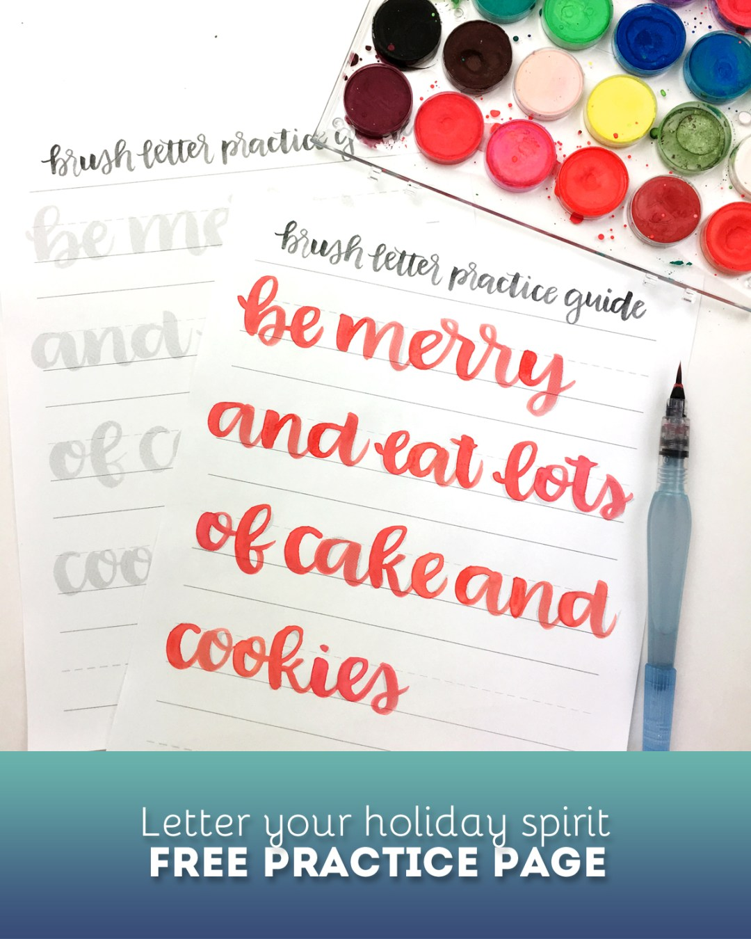 Free Holiday Brush Lettering Practice Page - www.randomolive.com