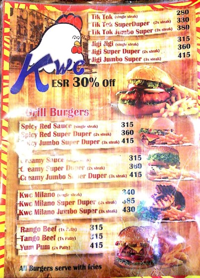 KWC Burger menu