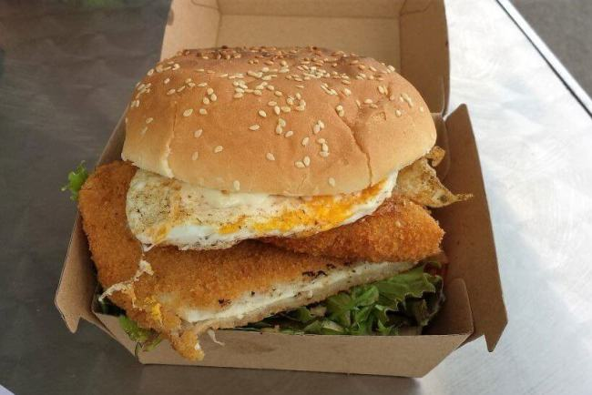 Chicken Schnitzel burger from the Koala Cafe