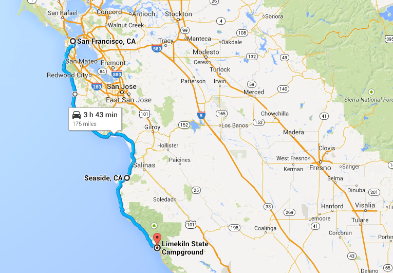 My route from San Francisco to Big Sur