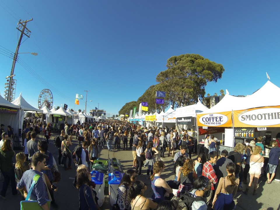 The food & merchandise booths at Treasure Island Music Festival 2014