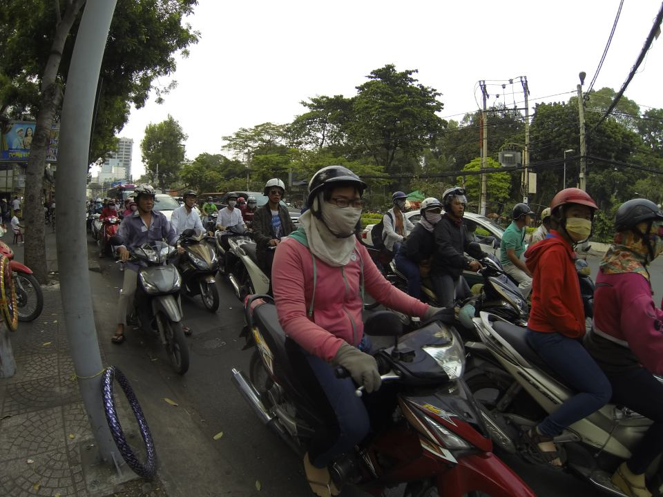 Rush hour traffic at Ho Chi Minh City, Vietnam