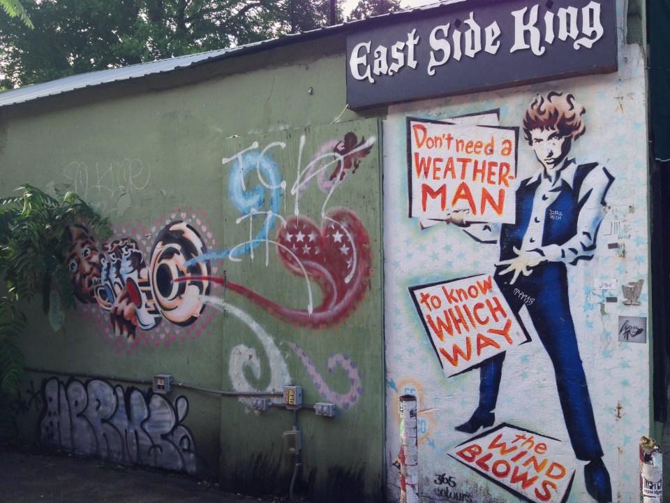Bob Dylan wall art at the Drag