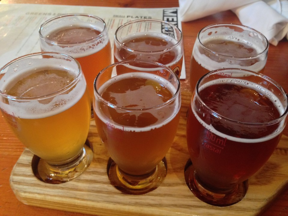 Deschutes beer sampler in Portland