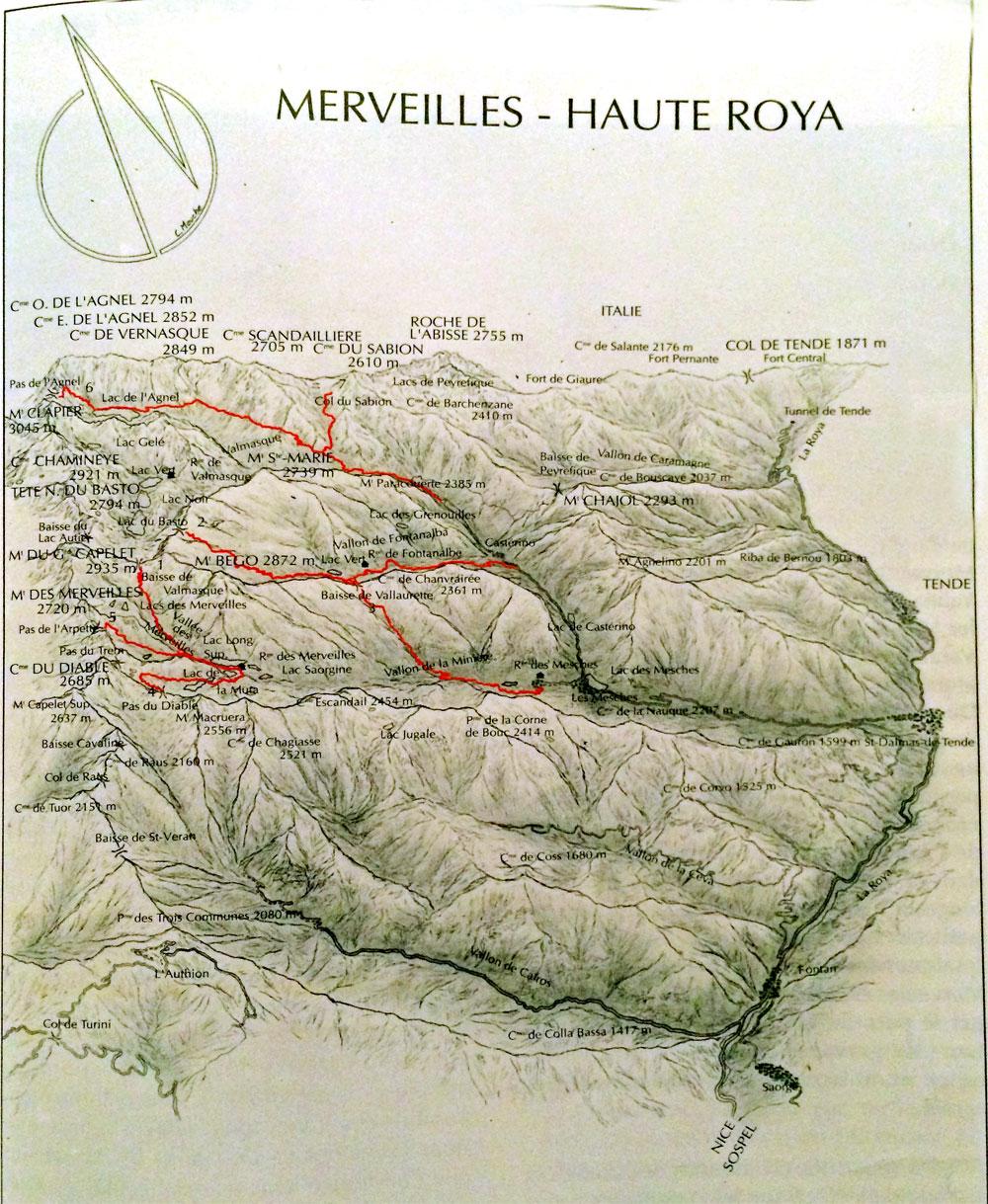 Carte vallée de la Roya