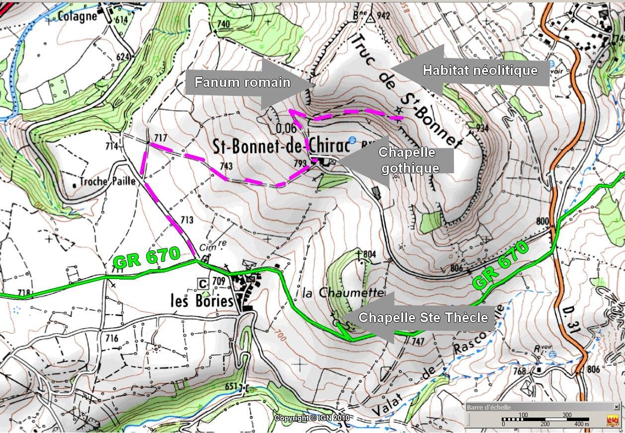St Bonnet de Chirac - Chemin Urbain V en randonnée