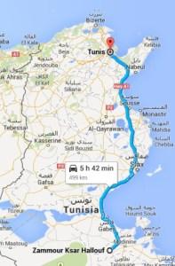 Circuit randonnée Zammour-route-tunis-Zammour