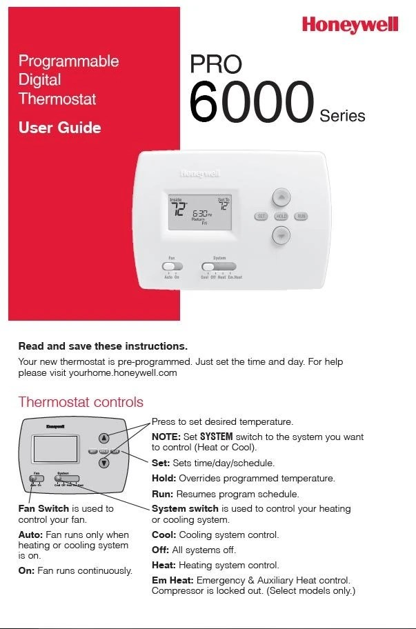 Honeywell Pro 6000 Series Manual