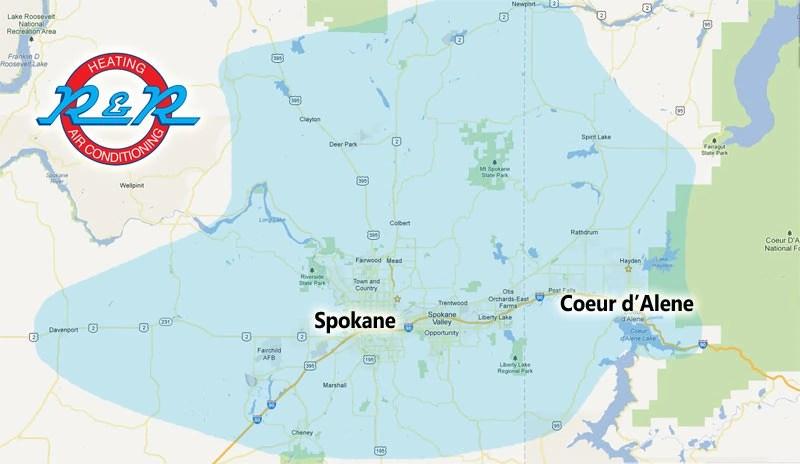 Spokane \u0026 Surrounding Service Area - R\u0026R Heating \u0026 Air ...