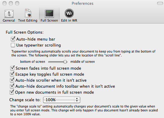 WriteRoom Preferences