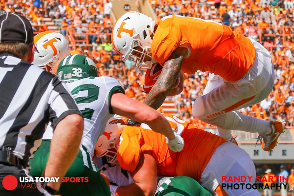 Sep 17, 2016; Knoxville, TN, USA; Tennessee Volunteers running back Jalen Hurd (1) jumps for a touchdown against the Ohio Bobcats during the first half at Neyland Stadium. Mandatory Credit: Randy Sartin-USA TODAY Sports