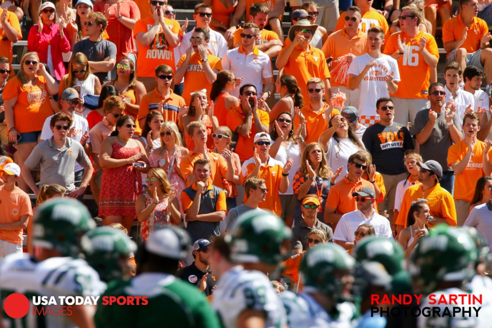 Sep 17, 2016; Knoxville, TN, USA; Tennessee Volunteers fans during the second half against the Ohio Bobcats at Neyland Stadium. Tennessee won 28 to 19. Mandatory Credit: Randy Sartin-USA TODAY Sports