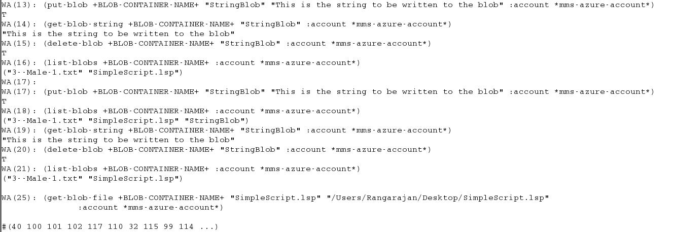 Accessing Azure BLOBs In Lisp Rangarajan Krishnamoorthy On