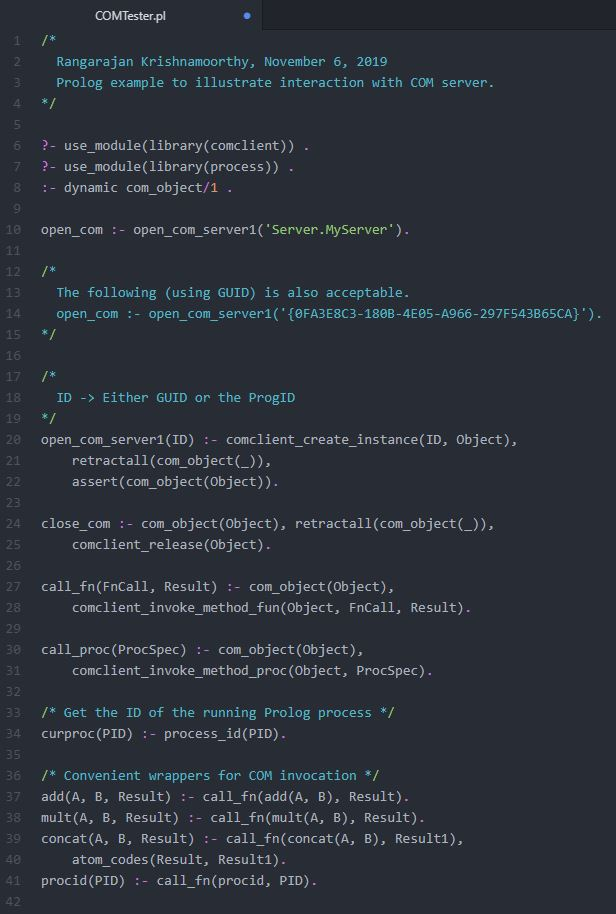 Prolog Client Code