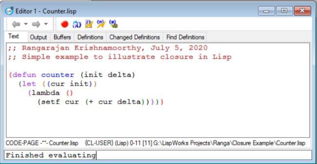 Counter in Lisp